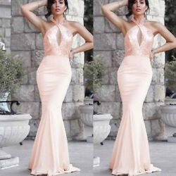 Women Ladies Halter Neck Maxi Dress Bodycon Party Evening Wedding Long Dresses $28.19