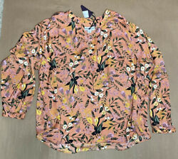 Womens Orange Floral Long Sleeve Blouse Size 1X Ava And Viv $18.00