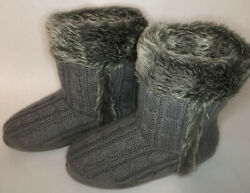 Womens Size 7 8 AIRWALK Gray Fabric Knit Ankle Moccasins Style Booties Knit Tie $14.97