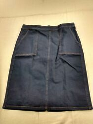 Lands#x27; End Stretch Pencil Skirt Women Size 12 Blue $12.00