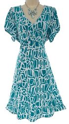 1X 16 SEXY Womens TEAL PRINT MIDI DRESS Spring Summer Wedding Party PLUS SIZE $49.99