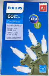 Philips A1 60 Mini Lights LED Cool White Indoor Outdoor Christmas Lights NEW $12.97