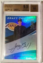 Lonzo Ball 2017 18 Panini Absolute Draft Day Ink Autograph RC ##x27;d 25 BGS 9.5 GEM