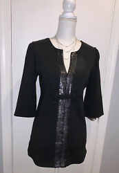 Lilly Pulitzer Black Sequin V Neck Tunic Blouse Top 3 4 Sleeve Sz 6
