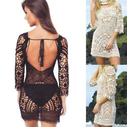 Summer Beach Women Bathing Suit Cover Up Crochet Lace Boho Dress Bikini Sundress $14.99