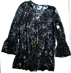 Free People Falling Flowers Frock Black Sequin Lace Swing Dress L MSRP $128.00