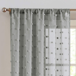 Sheer Curtains Pompom Grey Voile Pom pom Window Curtains for Bedroom Girls Room $32.18