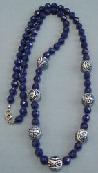 Vintage Oriental Style Blue Glass Bead Necklace 31 Inches Long $21.99