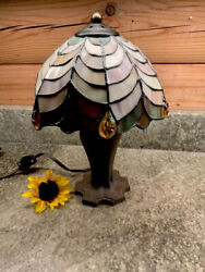 "Tiffany Style 13"" Stained Glass Lamp Small Table Desk Night Light $44.95"