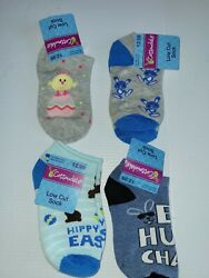 Lot Of 4 Low Cut Easter Socks Kids Size 10.5 4 Baby Chick Bunnies $7.00