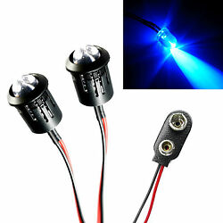 2x Police Flashing Blue Large Lights R C Car Buggy Truck LED PP3 Connector Kit