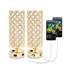 USB Crystal Table Lamp Small Gold Lamp Sets Desk Lamp Set of 2 with USB Cha... $61.95