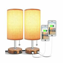 USB Table Lamp Bedside Table Lamp with Two USB Ports Round Fabric Lamp Sets... $50.72