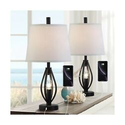 Modern Farmhouse Table Lamp Sets of 2 with 2 USB Ports Pulg in Industrial Nig... $125.64