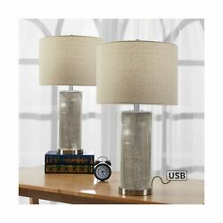 Maxax Table Lamp Sets of 2 with USB Charging Ports Mercury Nightstand Lamps ... $150.61