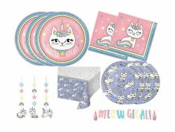 Kitty Cat Unicorn Girls Birthday Party Supplies Pack Includes Plates Napkins ... $56.91