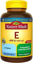 Nature Made Vitamin E 180 mg 400 IU dl Alpha Softgels 300 Count Value Size for $18.99