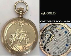 COLOMBUS W. Co. 10k solid YELLOW GOLD fancy 6s HUNTING CASE 1880 $750.00