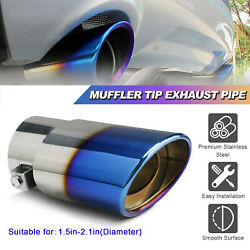 Car Exhaust Pipe Tip Rear Tail Throat Muffler Stainless Steel Round Accessories $14.49