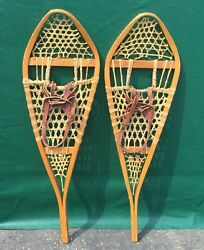 GREAT Vintage #x27;Gros Louis#x27; SNOWSHOES 42x12 Snow Shoes LEATHER BINDINGS $87.99