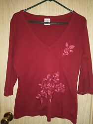 CRAZY SHIRT HAWAII Women#x27;s Red Pullover Top Embroidered Floral Size L $18.99