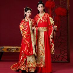 Vintage Chinese Wedding Dress Embroid Men and Women Traditional Hanfu Embroidery GBP 200.50