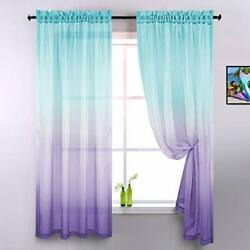 Lilac and Turquoise Curtains for Bedroom Girls Room Decor Set of 2 Panels Ombre $36.14