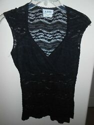 A. Byer Womens Black Lace Blouse Top Size S M FREE SHIPPING