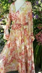 Kate and Lily Maxi Boho Floral Chiffon Wrap Style Belted Dress Sz. 8 $28.95