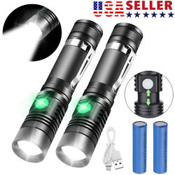 2 PACK 20000lm LED Flashlight Rechargeable USB T6 LED Tactical Torch Light Lamps $13.59