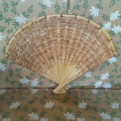 Vintage Wall Hang Wicker Rattan Woven Straw Style Boho Folding Fan Look Decor $26.94
