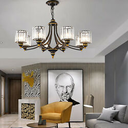 Modern 8 Head Crystal Shade Chandelier Bronze Gold Pendant Ceiling Light Lamp $181.00