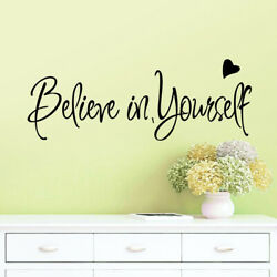 Home Decor Easy Install Inspiring Quote DIY Wall Sticker Believe In Yourself Art $7.79