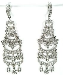 Vintage Monet Chandelier Earrings Clear Crystal Silver Tone 3.5quot; Signed $26.00