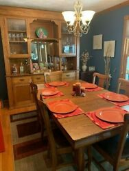 Beautiful Antique Table w 6 Tall back Leather seated Chairs. Professionally Ref $2520.00