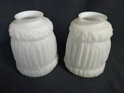 Vintage Frosted Rippled Glass Light Shade Pair 2 1 4quot; Fitter $27.50