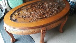 ASIAN CARVED COFFEE TABLE VINTAGE $250.00