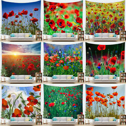 Floral Wild Poppy Flowers Field Wall Hanging Living Room Bedroom Dorm Tapestry $9.69