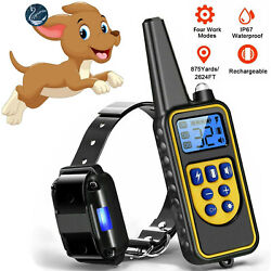Remote Dog Shock Training Collar 2600 FT Rechargeable Waterproof LCD Pet Trainer $27.99