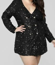 Fashion Nova Black Sequin Blazer Dress NWT 1XL