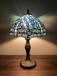 Retro Style Table Lamp Blue Stained Glass Dragonfly Antique Vintage 19quot;x12quot; US $99.97