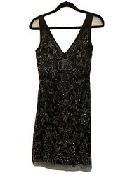 New Adrianna Papell Designer Black With Metallic Beading dresse size 10 $185