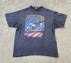 Vintage 3D Emblem american steel jacks cylces Motorcycle Eagle shirt XL $120.00