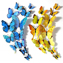 24PCS Butterfly Wall Stickers Decor 3D Colorful Butterfly Wall Decals Decor for $13.40