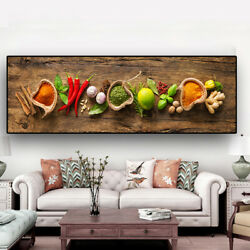 Restaurant Wall Art Kitchen Posters Home Decor Canvas Painting Grains Spices $49.99