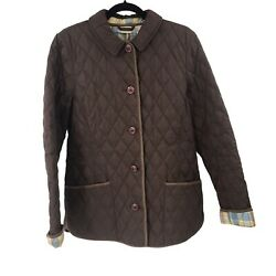 LL Bean Jacket Womens Medium M Brown Quilted Ladies Button Up Long Sleeve $29.99