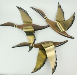 3 Vintage Masketeers Flying Geese Ducks Mid Century Wooden Brass Wall Art $189.00