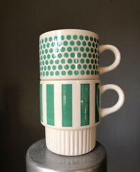 Vintage Mid Modern Green Striped Stacking Coffee Cups Pair USA Ceramic $14.99