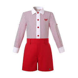Spanish Boys Formal Party Outfit Striped Shirt Top and Red Shorts Long Sleeve US $29.99