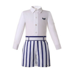 Boys Formal Party Outfit White T shirt Blue Striped Shorts Spanish Gentleman US $29.99